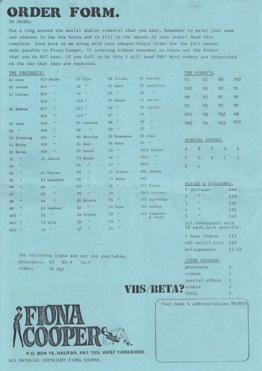 Fiona Cooper Order Form