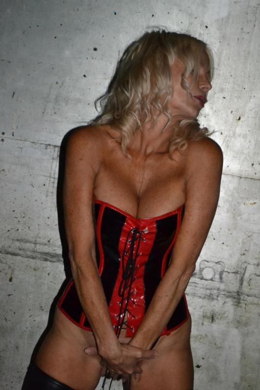 Vida Garman in a corset